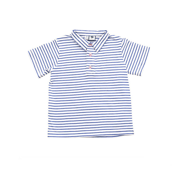 Navy and White Stripe Knit Polo