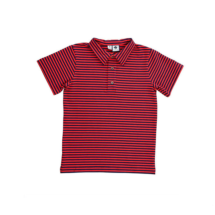 Red & Navy Mini Stripe Knit Polo