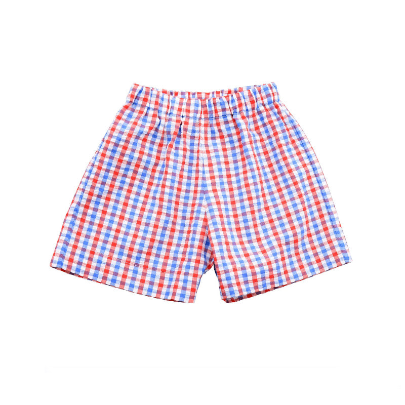 red white and blue check pull on boys' shorts