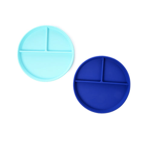 Blue Silicone Divided Plates