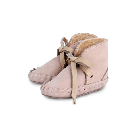 Powder Pink Lace-Up Booties