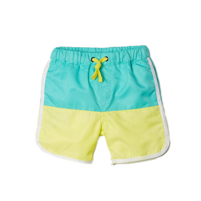 Aqua Color Block Swim Trunks