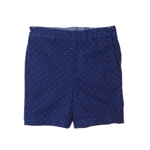 Navy Pin Dot Cotton Shorts