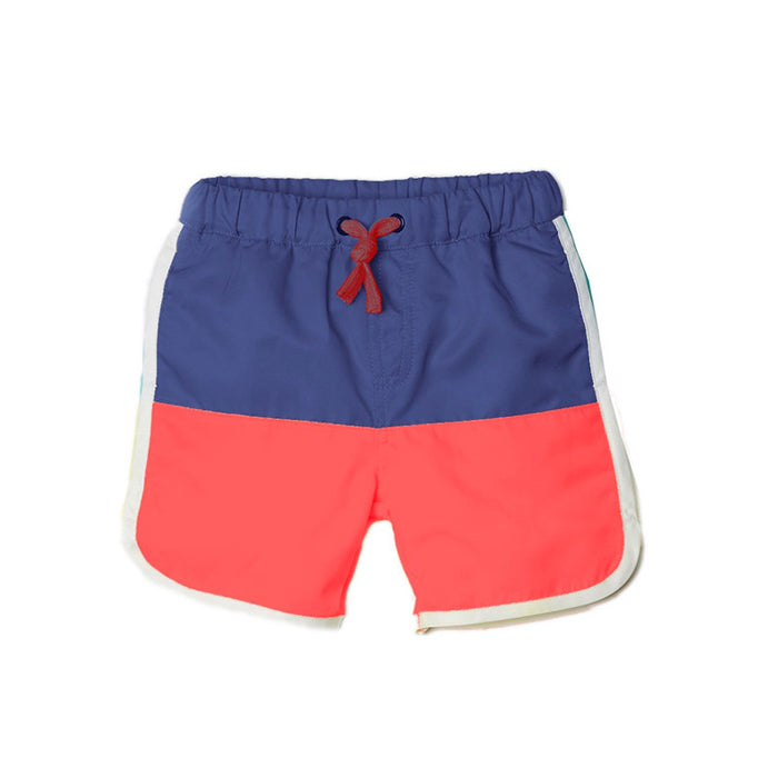 Navy Color Block Swim Trunks