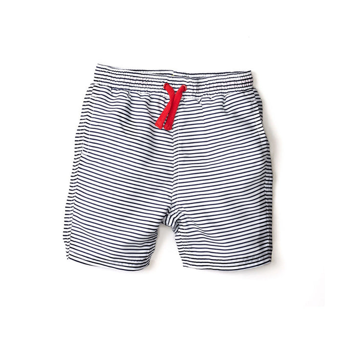 Last One!  Navy Striped Swim Trunks
