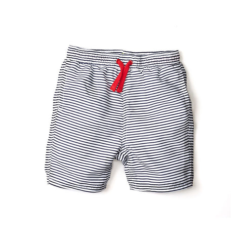 Navy Striped Swim Trunks