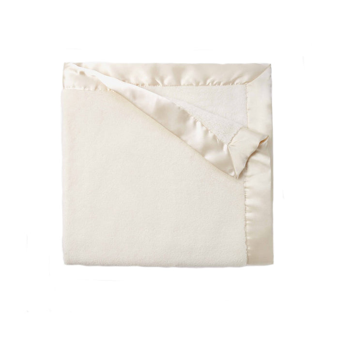 Cream Fleece Satin Trim Blanket