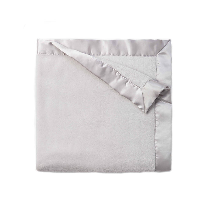 Grey Fleece Satin Trim Blanket