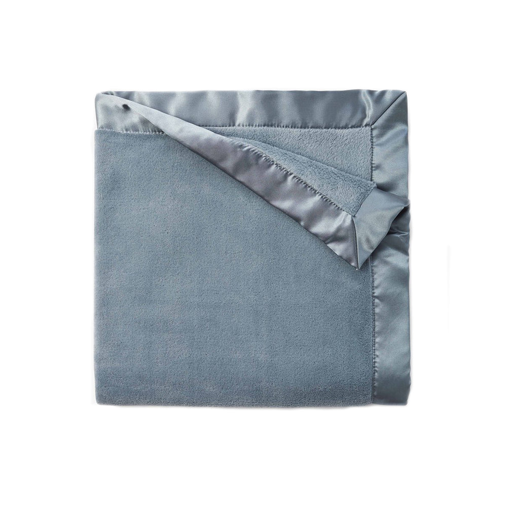 Light Teal Fleece Satin Trim Blanket