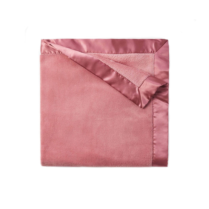 Mauve Fleece Satin Trim Blanket