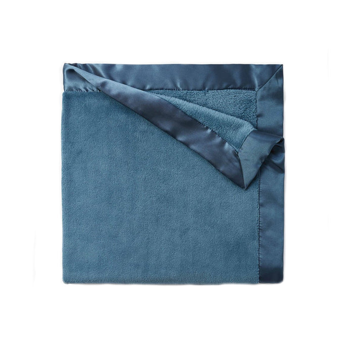 Teal Fleece Satin Trim Blanket