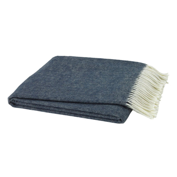 Italian Herringbone Nursery Throw in Navy