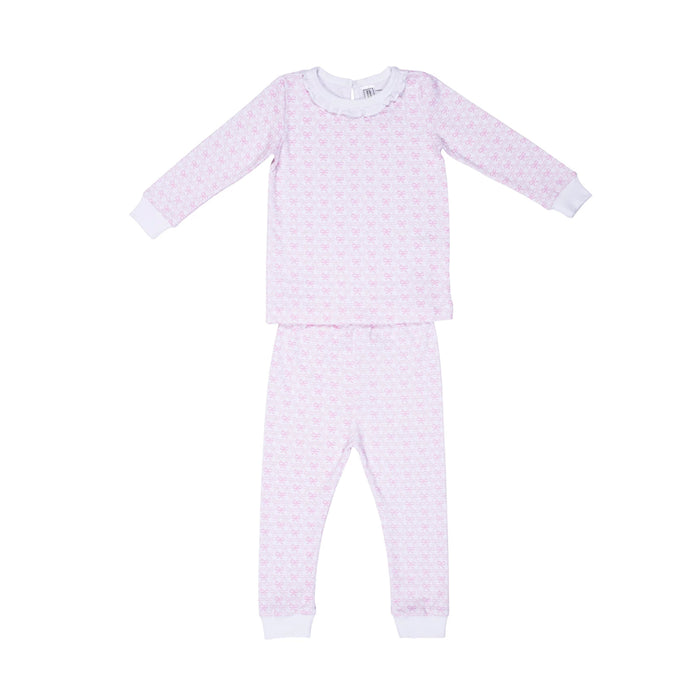 Pink Bow Ruffled 2pc Set Pajamas