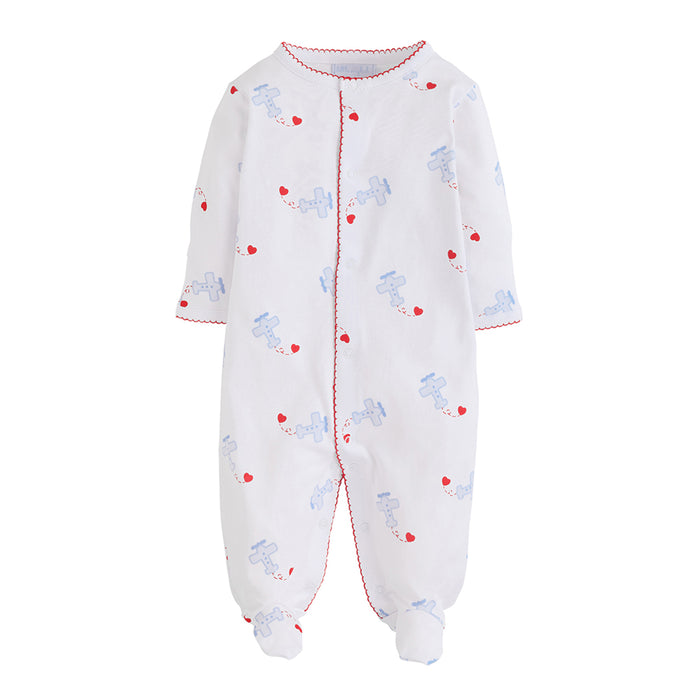 Boys Footie Airplane and Heart Pajamas