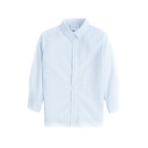Light Blue Gingham Button Down Shirt