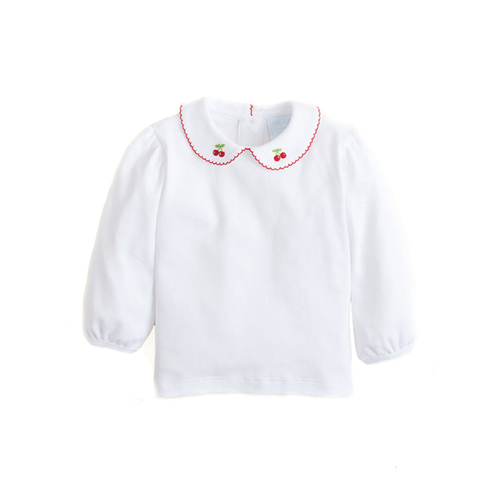 Cherry Pinpoint Peter Pan Blouse