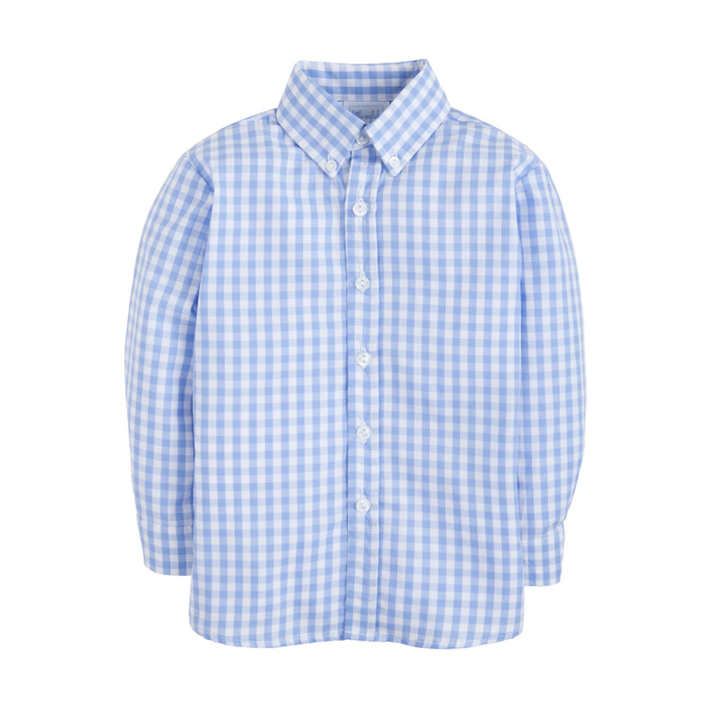 Cornflower Blue Gingham Long-Sleeve Shirt