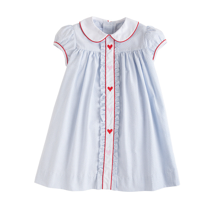 Sally Blue Gingham Dress with Ruffles