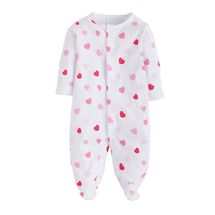 Girls Printed Heart Footie Jammies