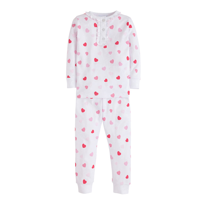 Girls Printed Hearts Two-Piece Pajamas