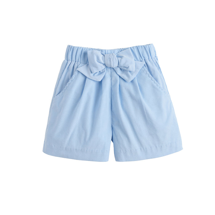 Light Blue Corduroy Bow Shorts