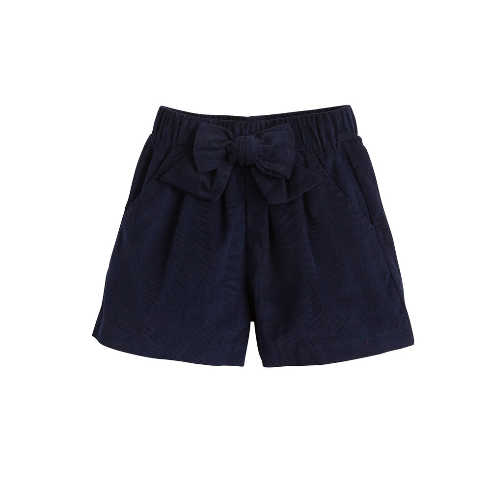 Navy Corduroy Bow Shorts