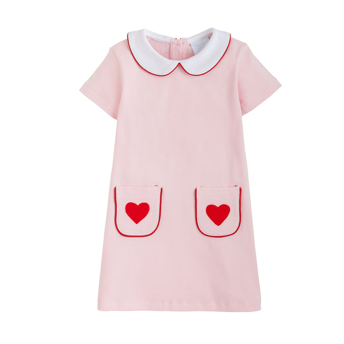Hearts Appliqué Libby Pink Dress