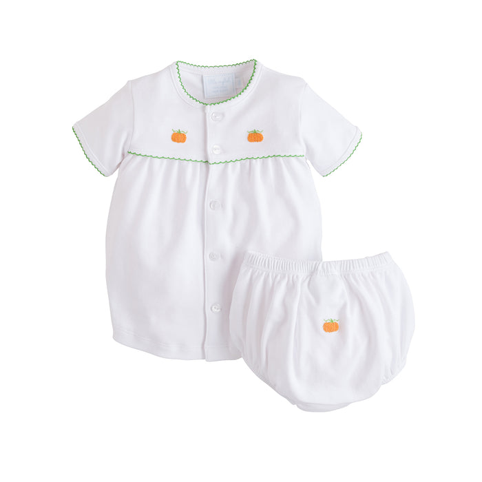 Pumpkin Pinpoint Layette Knit Set