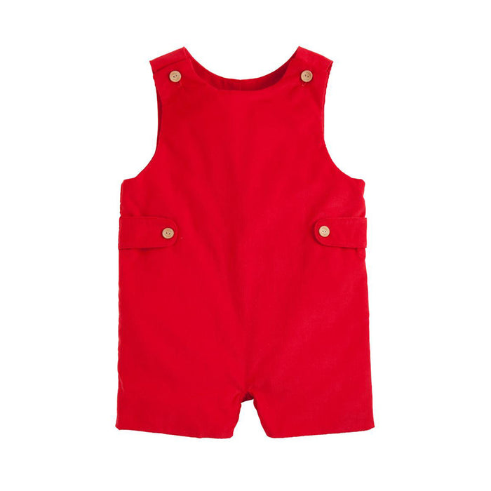 Red Corduroy Button-Tab John John