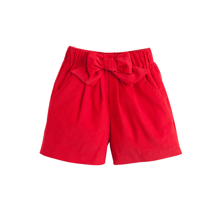 Red Corduroy Bow Shorts