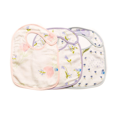 Blue Windflower Deluxe Muslin Classic Bib Set