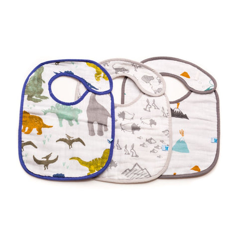 Dino Friends Cotton Muslin Classic Bib Set
