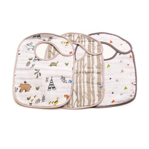 Forest Friends Cotton Muslin Classic Bib Set