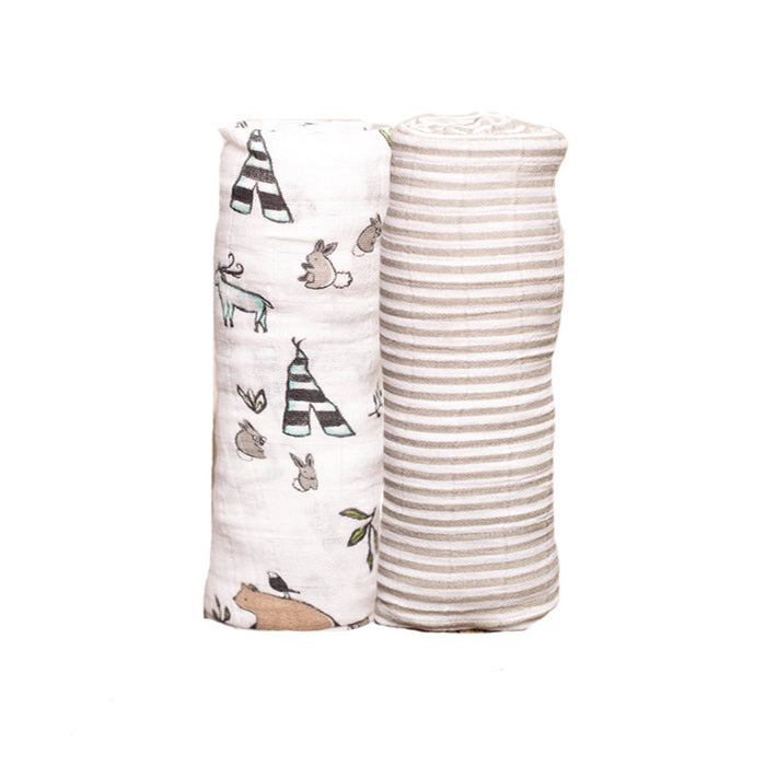 Forest Friends Organic Cotton Swaddle Set