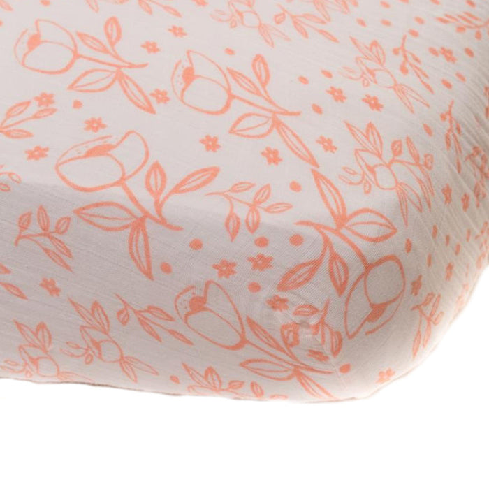 Garden Rose Cotton Muslin Crib Sheet