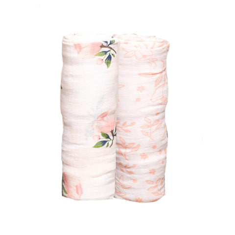 Watercolor Rose Organic Cotton Swaddle Set