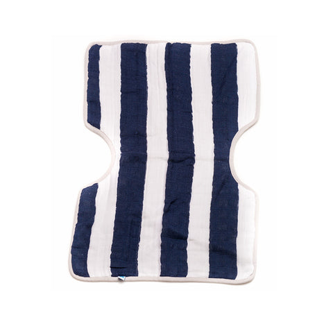 Navy Stripe Cotton Muslin Burp Cloth