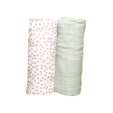 Periwinkle Polka Dot Deluxe Swaddle Set