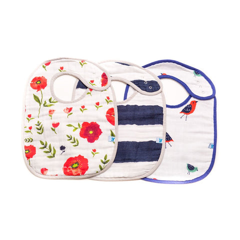 Summer Poppy Cotton Muslin Classic Bib Set