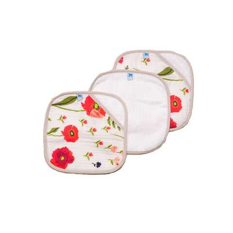 Summer Poppy Washcloth Set