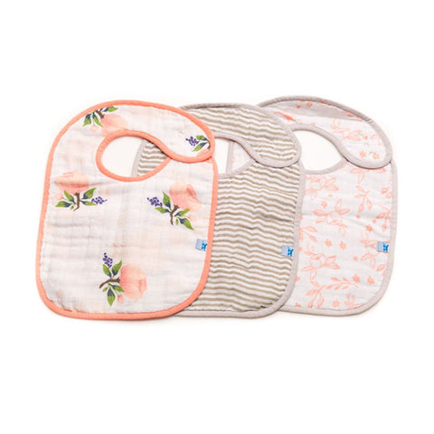 Watercolor Rose Cotton Muslin Classic Bib Set