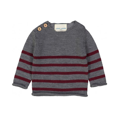 Burgundy and Grey Merino Stripe Sweater