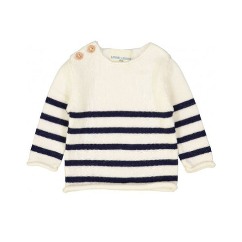 Navy and Cream Merino Stripe Sweater