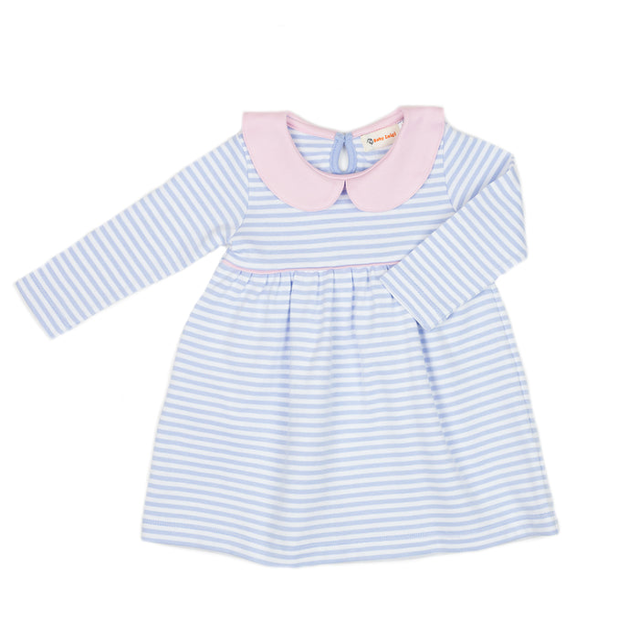 Sky Blue Striped Knit Dress