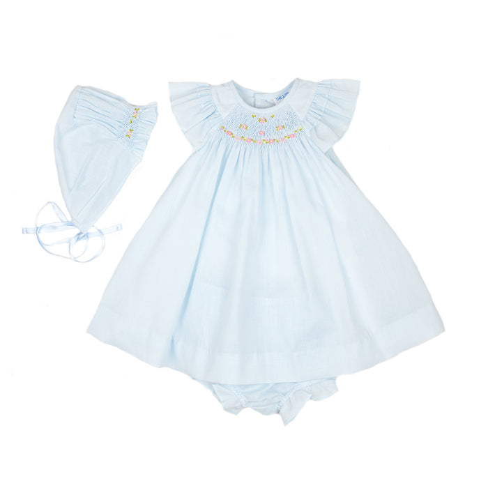 Blue Smock Organdy Bishop Dress