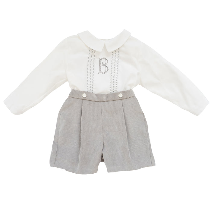 Grey Corduroy Two-Piece Set