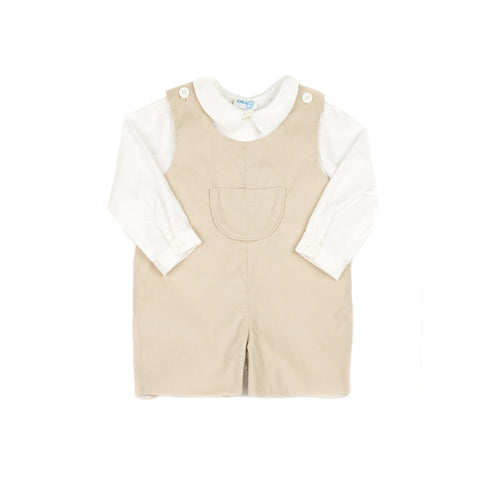 Khaki Corduroy Jon Jon and Shirt Set