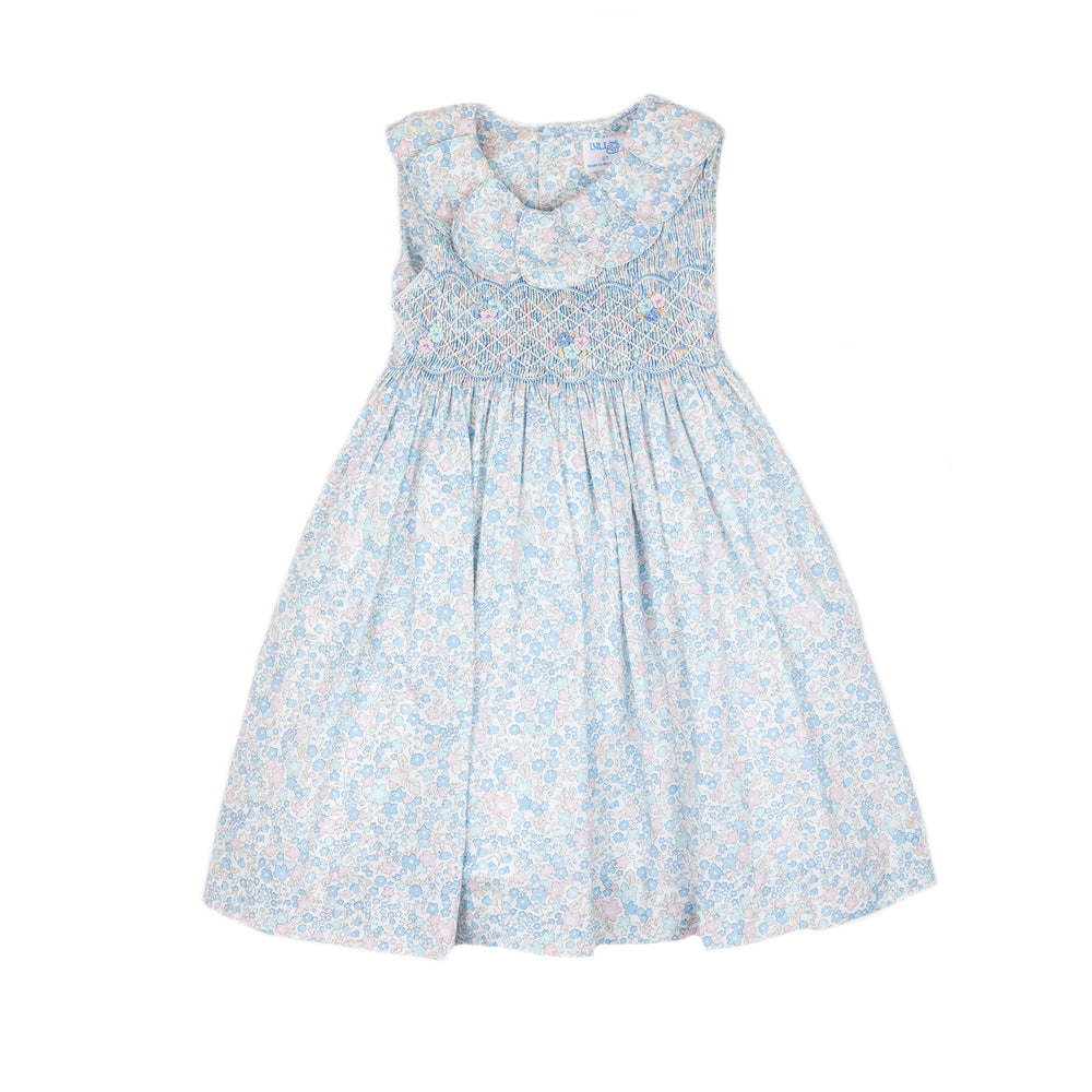 Blue Liberty Smocked Petal Dress