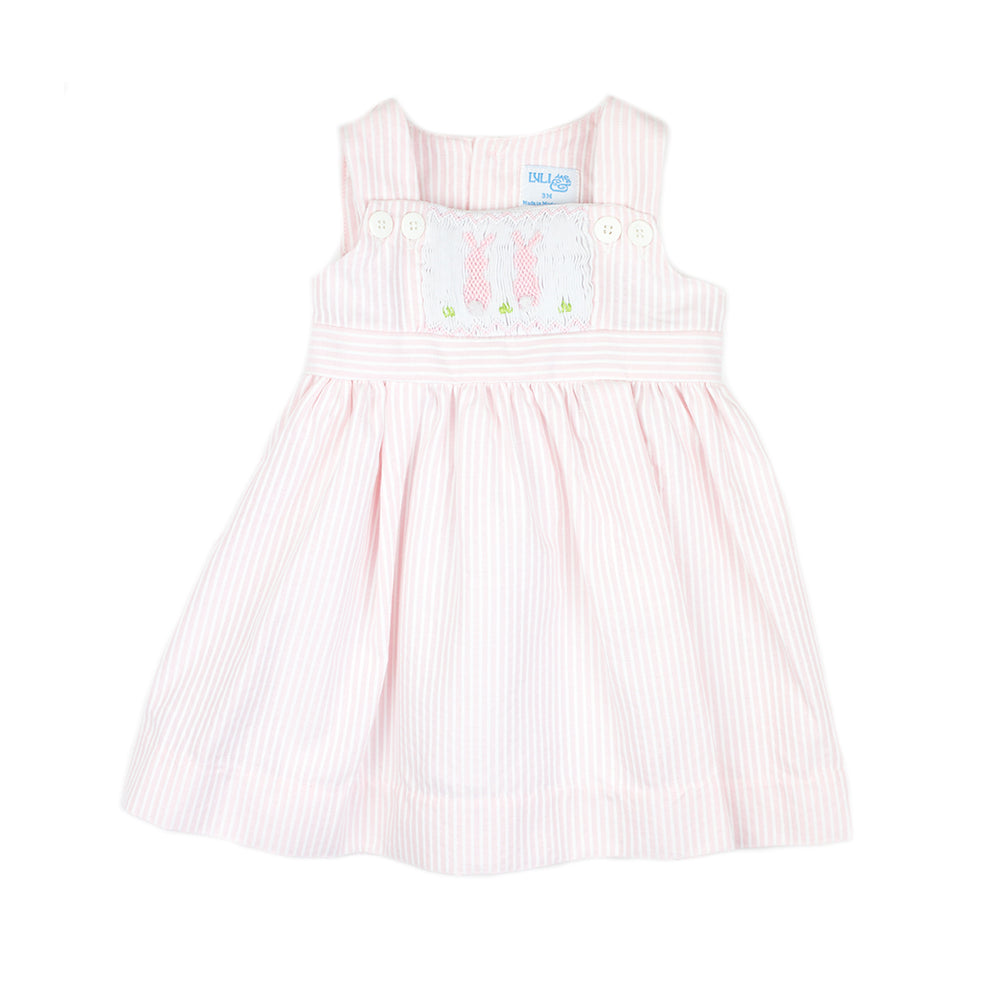 Pink and White Bunny Smock Dress
