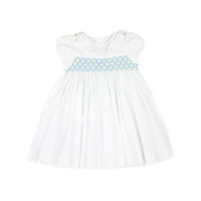 Mint Pin Dot Smocked Dress